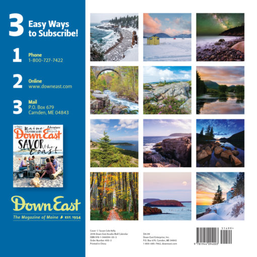 Down East 2018 Acadia Wall Calendar Back Cover