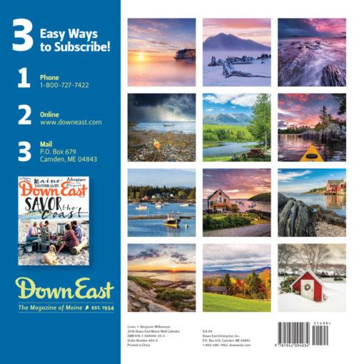 Down East 2018 Maine Wall Calendar Back Cover