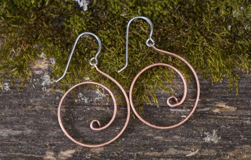 Copper Swirl Hoop Earrings by Willy Wires