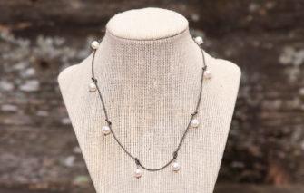 LESL Ware - Multi-Dangle Pearls Necklace - Granite