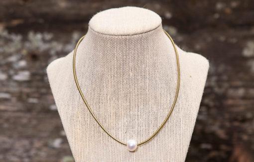 LESL Ware - Single Pearl Necklace - Brass