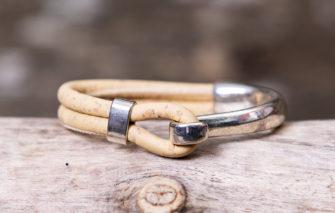 Gem Lounge Jewelry - Bracelet - Beige Cork Silver Side Hook