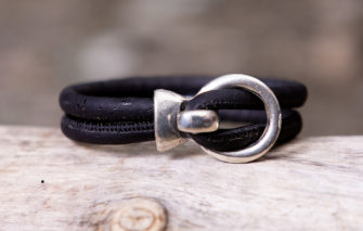 Gem Lounge Jewelry - Bracelet - Black Cork Silver Open Hook