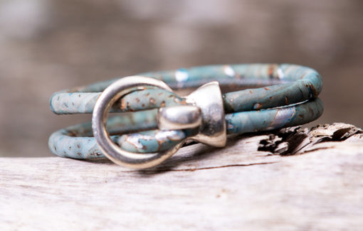 Gem Lounge Jewelry - Bracelet - Blue Cork Silver Open Hook