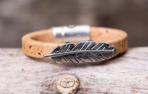 Gem Lounge Jewelry - Bracelet - Magnetic Tan Cork Feather