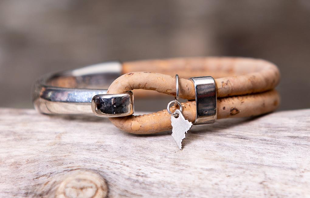 Gem Lounge Jewelry Bracelet Maine Charm Tan Cork