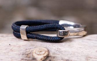 Gem Lounge Jewelry - Bracelet - Navy Cork Silver Side Hook