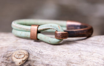 Gem Lounge Jewelry - Bracelet - Seafoam Cork Copper Side Hook