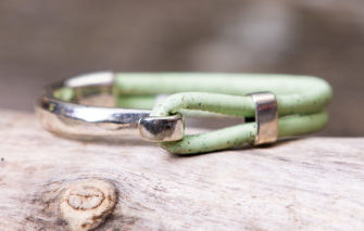 Gem Lounge Jewelry - Bracelet - Seafoam Cork Silver Side Hook