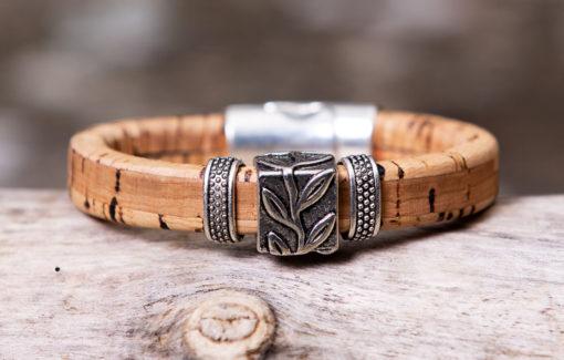 Gem Lounge Jewelry - Bracelet - Tan Cork Leaf Bead