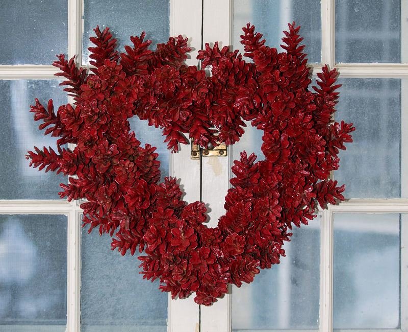 Red Sky Studio, pine cone wreath scarlet heart