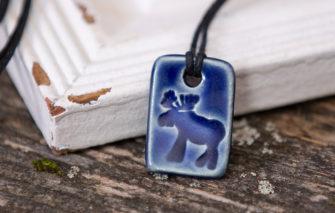 Jess Teesdale Pottery - Charm - Moose - Blue