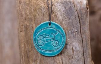 Jess Teesdale Pottery - Ornament - Bicycle - Aqua