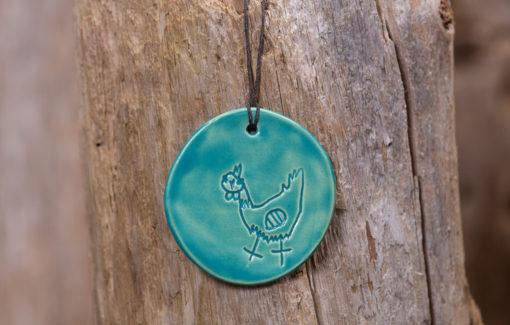 Jess Teesdale Pottery - Ornament - Chicken - Aqua