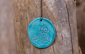 Jess Teesdale Pottery - Ornament - Owl - Aqua
