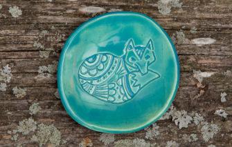 Jess Teesdale Pottery - Ring Dish - Fox - Aqua