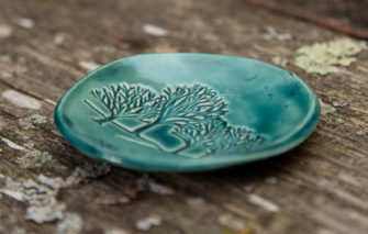 Jess Teesdale Pottery - Ring Dish - Trees - Green