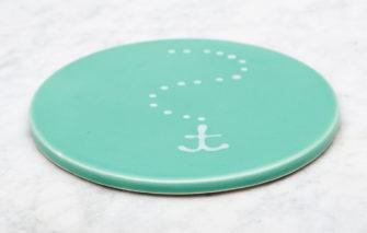 Lola Arts - Trivet - Anchor - Seafoam