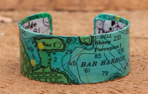 Whimsy - Chart Map Cuff - 1 Inch - Bar Harbor