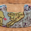 Whimsy - Chart Map Cuff - 1 Inch - Port Clyde
