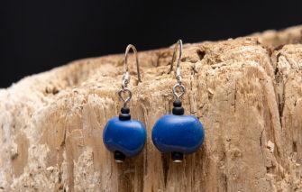 Whimsy - Kazuri Earrings - Blue