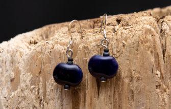 Whimsy - Kazuri Earrings - Deep Purple