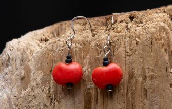 Whimsy - Kazuri Earrings - Orange