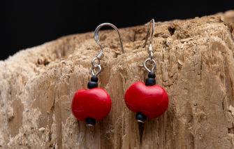 Whimsy - Kazuri Earrings - Red