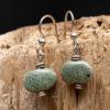 Whimsy - Kazuri Earrings - Speckled Green