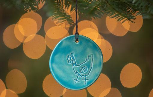 Jess Teesdale Pottery - Ornament - Chicken - Aqua - Christmas