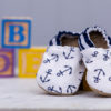 Two Little Beans & Co. - Baby Booties - Anchors with Blue Stripe