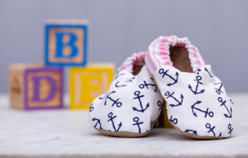 Two Little Beans & Co. - Baby Booties - Anchors with Pink Stripe