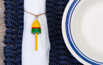 Beth Doan Maine Artist - Buoy Ornament - Yellow Red Green - Napkin Ring