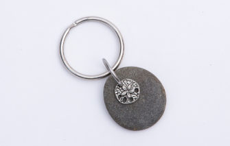 Denise Dion Designs - Keychain - Maine Beach Stone Silver Plated Sand Dollar