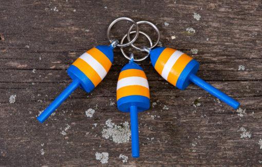Beth Doan Maine Artist - Lobster Buoy Key Chain - Blue Orange and White Stripes