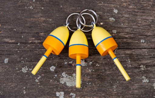 Beth Doan Maine Artist - Lobster Buoy Key Chain - Yellow Blue and Orange Stripes