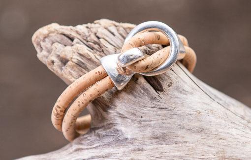Gem Lounge - Bracelet - Tan Cork with Silver Open Hook