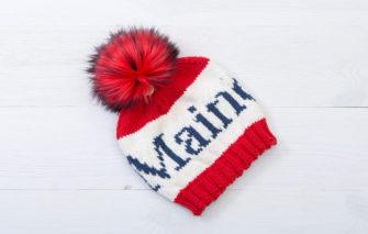 Bespolk - Maine Pom Hat - Red and White