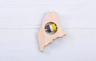 Patriot Baby - Rattle - Maine State Wooden - Black and Yellow
