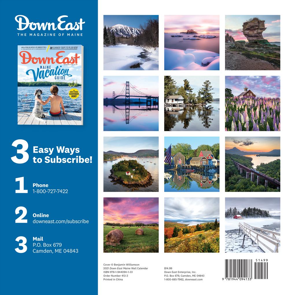 2021 Maine Down East Wall Calendar   Down East Shop