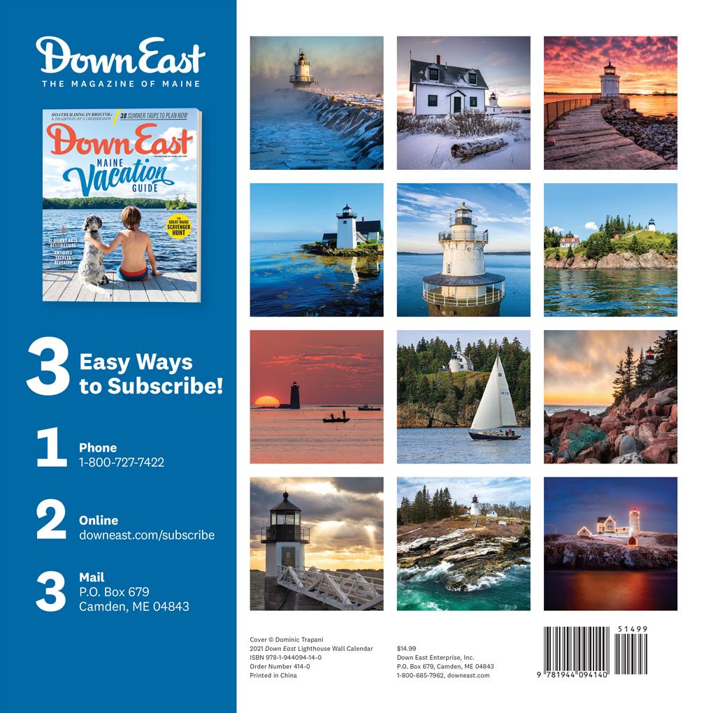 2021 Maine Lighthouses Down East Wall Calendar   Down East Shop