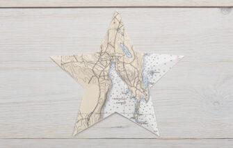 The Orange Chair Studio - Ornament - Nautical Chart Star - Rockport Harbor