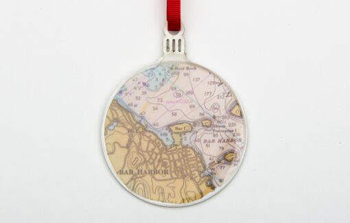 Whimsy - Chart Map Ornament - Bar Harbor