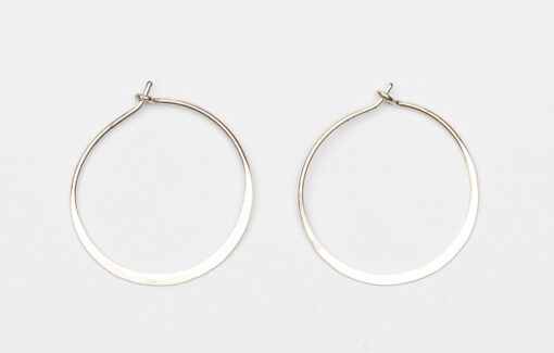 Willy Wires - Earrings - Hammered Silver Hoop