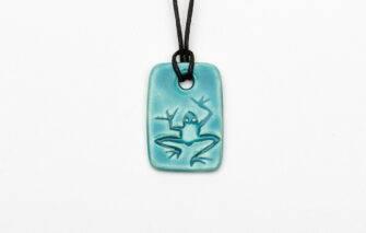 Jess Teesdale Pottery - Charm Necklace - Frog - Aqua