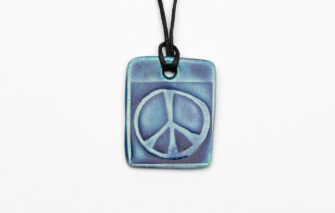 Jess Teesdale Pottery - Charm Necklace - Peace Sign - Blue
