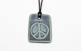 Jess Teesdale Pottery - Charm Necklace - Peace Sign - Dark Blue