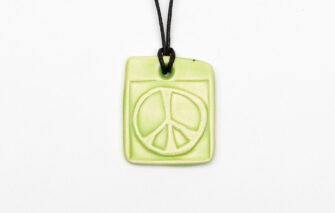 Jess Teesdale Pottery - Charm Necklace - Peace Sign - Green