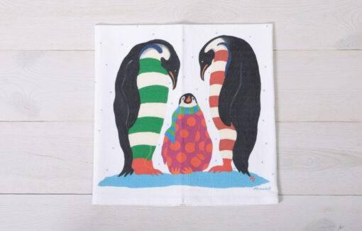 Festive Fish - Flour Sack Towel - Holiday Penguins