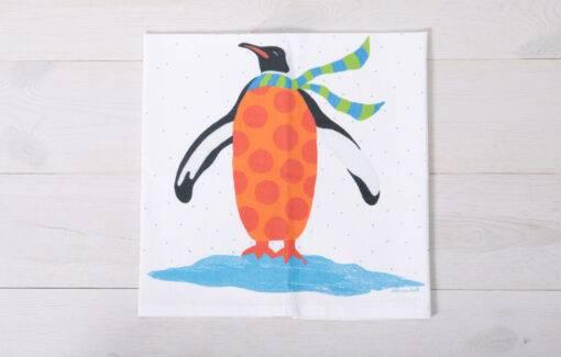Festive Fish - Flour Sack Towel - Orange Penguin